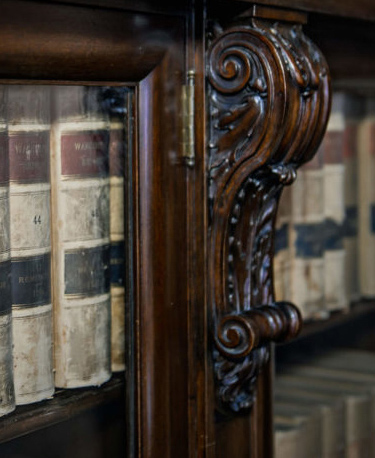 bookshelf with books for attorneys